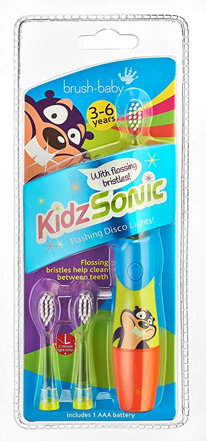 Brush-Baby KidzSonic Electric Toothbrush 3-6 years - Blue - includes 3 brush heads